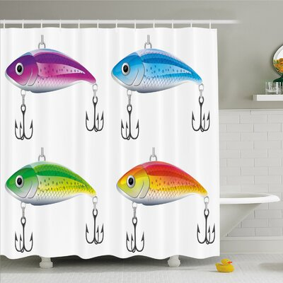 """Collection of Lures in Trout Shape Trap for Sea Mammals Creatures Picture Shower Curtain Set Size: 84"""" H x 69"""" W"""