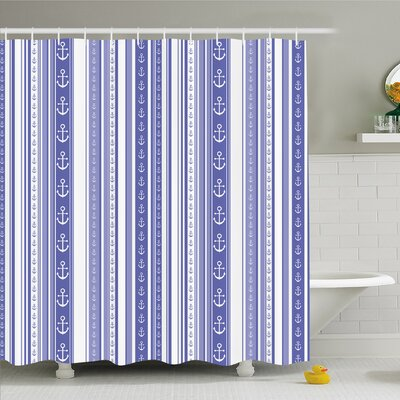 "Striped Nautical Anchor Icons Tape Motifs Sea Life Contrast Strips Maritime Artwork Shower Curtain Set Size: 75"" H x 69"" W"