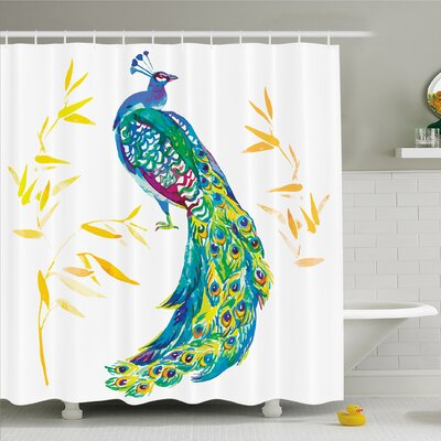 """Digital Watercolor Peacock Large Tail with Eyespots Image Shower Curtain Set Size: 70"""" H x 69"""" W"""