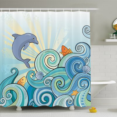 "Sea Animals Cartoon Dolphin Fish Starfish Shells Lights in Ocean Marine in Summer Pattern Shower Curtain Set Size: 84"" H x 69"" W"