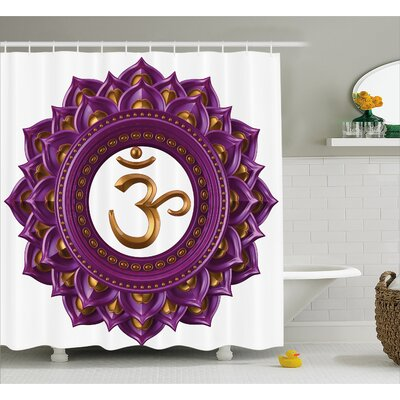 "Montreal Vivid Digital Mandala Circle With Chakra Lettering Secret Hidden Powers Zen Image Shower Curtain Size: 69"" W x 70"" H"