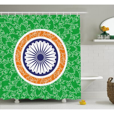 "Bruges Chakra Indian Independence Day Celebration Concept With Spinning Wheel of Light Motif Shower Curtain Size: 69"" W x 70"" H"