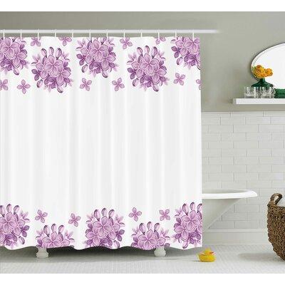 "Boxwood Gardening Theme Illustration of Lilac Flowers Pattern Romantic Design Print Shower Curtain Size: 69"" W x 70"" H"