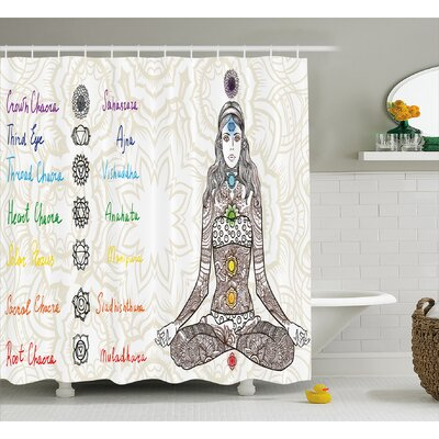 "Oberlin Chakra Sketch Image of Yoga Posed Girl Shower Curtain Size: 69"" W x 70"" H"