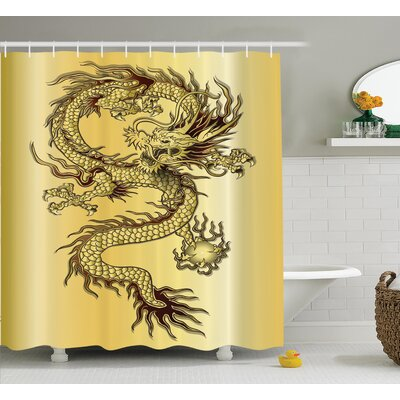 "Ourir Dragon Chinese Snake Dragon Theme Print on Golden Eastern Mythology Oriental Abstract Art Shower Curtain Size: 69"" W x 70"" H"