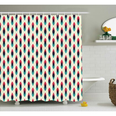 """Natasha Grunge Aztec Pattern With Native American Indian Effects Folk Culture Print Shower Curtain Size: 69"""" W x 70"""" H"""