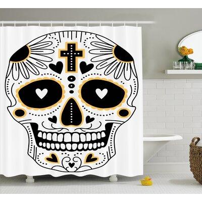 "Kayla Day of The Dead Dia De Los Muertos Spanish Mexican Festive Hippie Print Shower Curtain Size: 69"" W x 70"" H"
