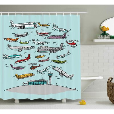 """Deloris Airplane Planes Flying Shower Curtain Size: 69"""" W x 75"""" H"""