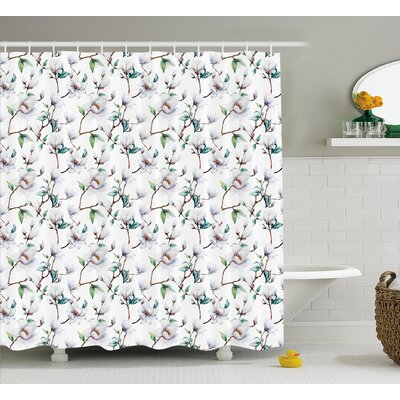 """Brady Flower Garden In Nature With Leaves Royal Mallows Shower Curtain Size: 69"""" W x 70"""" H"""