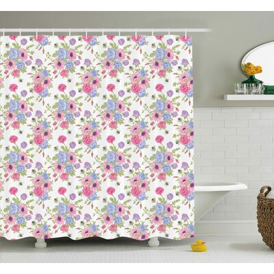 """Mandel Pastel Decorations Theme Bouquet of Colorful Flowers Shabby Elegance Style Shower Curtain Size: 69"""" W x 70"""" H"""