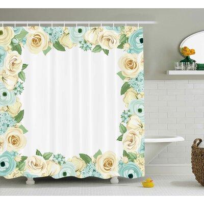 "Bud Shabby Elegance Flowers Roses Leaves Buds Romantic Love Themed Frame Artwork Print Shower Curtain Size: 69"" W x 70"" H"