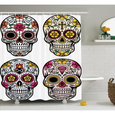 "Kayden Day of The Dead Dia De Los Muertos Festive Celebration Skull Art Image Shower Curtain Size: 69"" W x 70"" H"