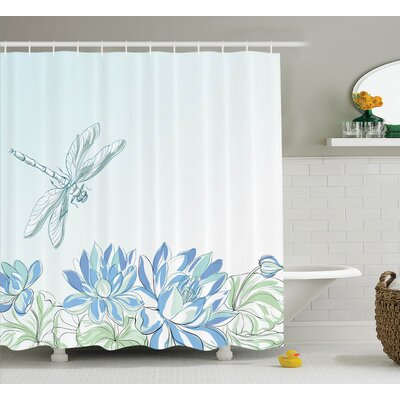 """Peterman Country Waterlilies Flowers and Dragonflies Simplistic Home Eco Nature Theme Artwork Shower Curtain Size: 69"""" W x 70"""" H"""