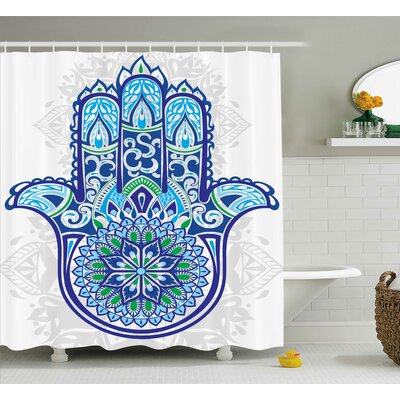 "Sienna Hamsa Sacred Hand Ethnic Asian Ornamental Flower and Petal Folklor Pattern Shower Curtain Size: 69"" W x 70"" H"