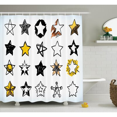 "Keisha Sweet Sixteen Stars Hand Drawn Colorful Art Rock Punk Themed Teen Room Art Shower Curtain Size: 69"" W x 70"" H"