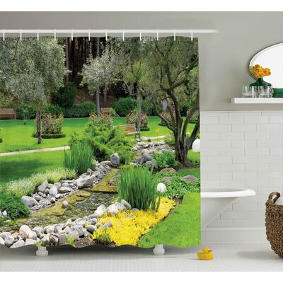 """Waverley Garden Japanese Park Style Recreational View With Pond Grass Stones and Trees Landscape Shower Curtain Size: 69"""" W x 70"""" H"""