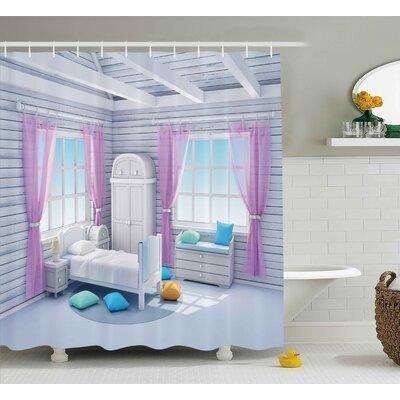 "Erin Fantasy Dreamy Bedroom Shower Curtain Size: 69"" W x 70"" H"