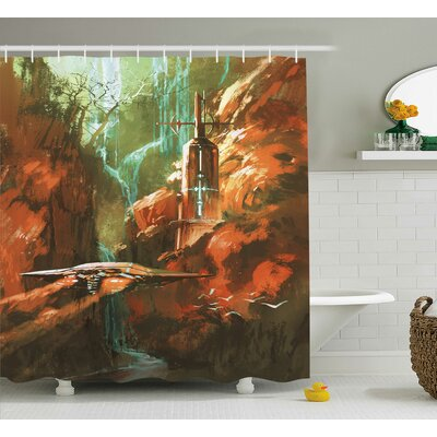 """Fantasy World Spaceship on Background of Waterfall Lighthouse and Red Canyon Fantasy Print Shower Curtain Size: 69"""" W x 75"""" H"""