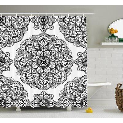 "Keaney Mandala Ornate Pattern of Mandala With Symmetrical Shape and Tiles Arabesque Persian Image Shower Curtain Size: 69"" W x 70"" H"