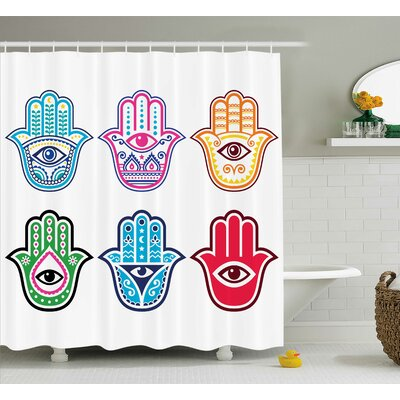 "Emmaus Hamsa Colorful Sacred Third Eye Symbol Shower Curtain Size: 69"" W x 70"" H"