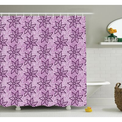 """Eva Purple Macro Flower Design With Glamour Leaves Spring Floral Charm Hand Drawn Style Image Shower Curtain Size: 69"""" W x 75"""" H"""