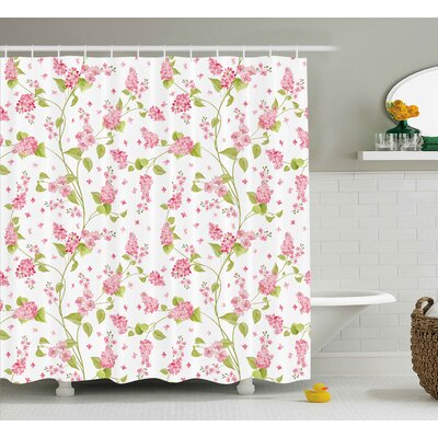 """Tamar Shabby Elegance Nature Blossoms Buds Flowers Lavenders Leaves Ivy Artwork Shower Curtain Size: 69"""" W x 70"""" H"""