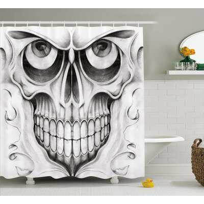 """Shawna Day of The Dead Scary Skull Face Angry Expression Festive Art Image Shower Curtain Size: 69"""" W x 70"""" H"""