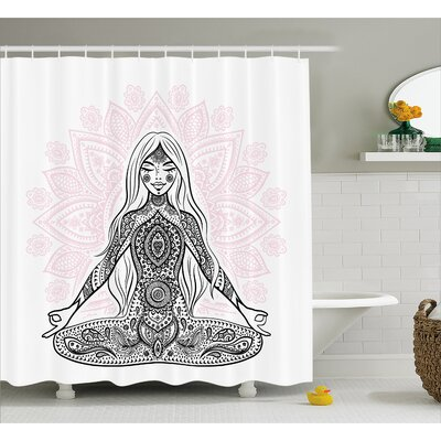 "Melbourne Chakra Ornate Girl Figure on Lotus With Eastern Symbols on Body Mind Calming Concept Shower Curtain Size: 69"" W x 70"" H"