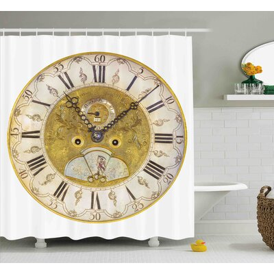 """Piper Vintage Theme a Seventeenth Century Ornamental Clock Face With Roman Numeral Shower Curtain Size: 69"""" W x 70"""" H"""