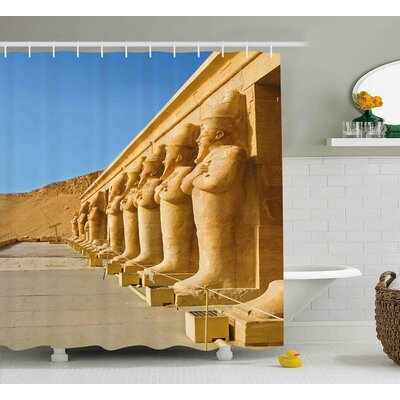 """Cheryl Pillar The Facade of Hatshephut Temple Decorated With The Osirian Statues Print Shower Curtain Size: 69"""" W x 84"""" H"""