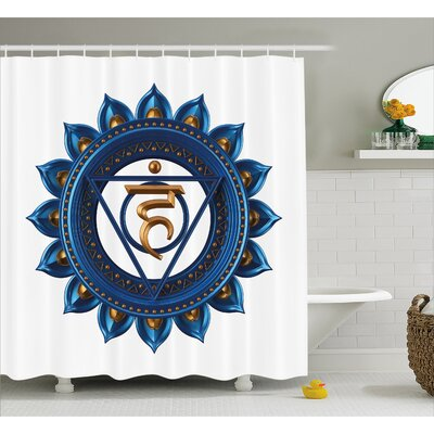 "Hopkins Chakra Embellished Vintage Power Sign Graphic Sacred Center of Vital Energy Decor Shower Curtain Size: 69"" W x 70"" H"
