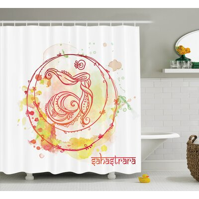 "Lehigh Round Sketchy Chakra Wheel With Watercolor Splashes Brushstrokes Ground Image Shower Curtain Size: 69"" W x 70"" H"