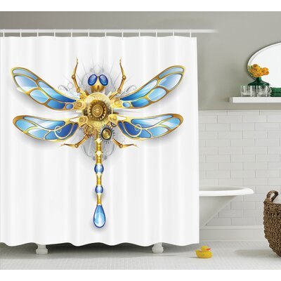 "Elaine Country Close-Up View of Mechanical Dragonfly With Eyes and Gears Body Illustration Shower Curtain Size: 69"" W x 75"" H"