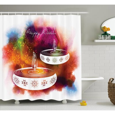 """Meknes Diwali Abstract Rainbow Brush Strokes Like Paisley Decor With Festive Fire Candles Shower Curtain Size: 69"""" W x 70"""" H"""