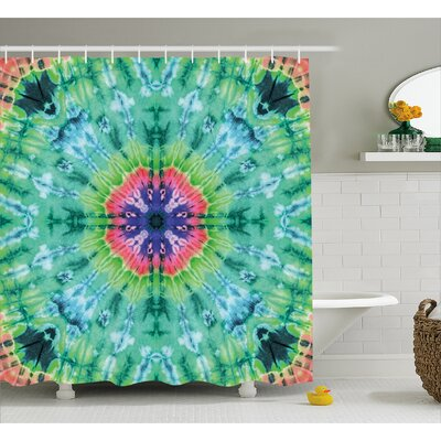 """Jennie Tie Dye Distressed Background With Pleating Gradient Brushed Marble Effect Image Shower Curtain Size: 69"""" W x 75"""" H"""