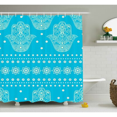 "Kirsten Hamsa Eastern Theme Sacred Geometric and Floral Prints Amulet Pattern Evil Eye Protection Shower Curtain Size: 69"" W x 70"" H"