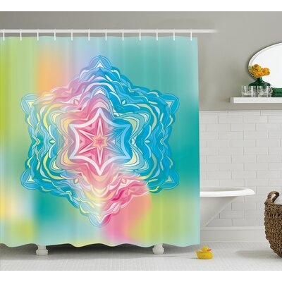 "Kayser Mandala Liquid Layered Digital Ethnic Floral Icon Shower Curtain Size: 69"" W x 75"" H"