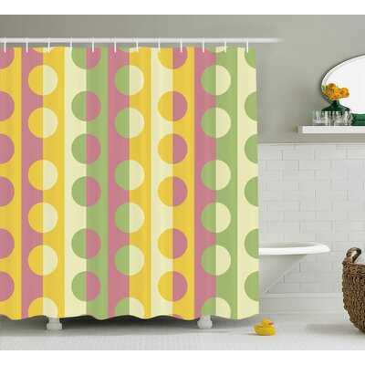 """Chrystin Abstract Retro Textured Circle Geometric Shapes Over Striped Grid Background Soft Design Shower Curtain Size: 69"""" W x 70"""" H"""