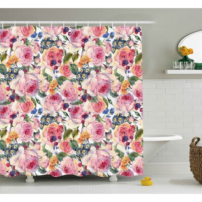 """Dorothee Shabby Elegance Country Design With Flowers Florals Roses Orchids Buds Romantic Print Shower Curtain Size: 69"""" W x 70"""" H"""