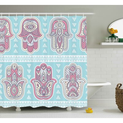 "Mona Boho Pattern With Open Hamsa Hands Ornate Asian Mandala Theme Artsy Boho Print Shower Curtain Size: 69"" W x 70"" H"