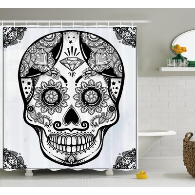 """Keeble Day of The Dead Holiday Sugar Skull Print With Floral Mandala Spanish Folk Art Shower Curtain Size: 69"""" W x 70"""" H"""