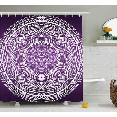 "Lynn Purple Ombre Mandala Art Print Bright Floral Pattern Boho Hippie Inspired Decorations Shower Curtain Size: 69"" W x 70"" H"