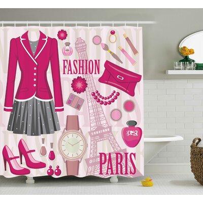 "Tracy Girly Fashion Theme Shower Curtain Size: 69"" W x 75"" H"