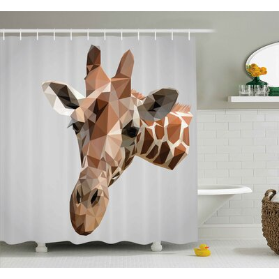 "Bouznika Animal African Safari Wildlife Creature Digital Giraffe Modern Triangles Image Artwork Shower Curtain Size: 69"" W x 70"" H"