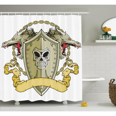 """Keesler Dragon Skull Knights Shield With Dragon Head and Scroll Medieval Warrior Myth Theme Shower Curtain Size: 69"""" W x 70"""" H"""