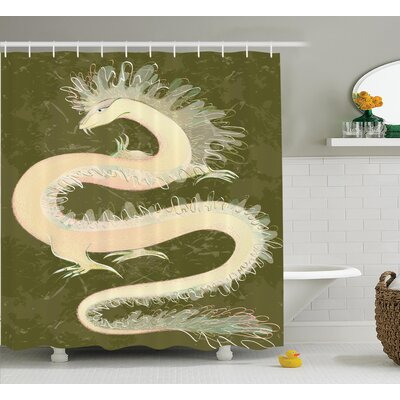 "Tina Dragon Chinese Style Reptile Dragon Eastern Culture Medieval Mythology Asia Pattern Shower Curtain Size: 69"" W x 70"" H"