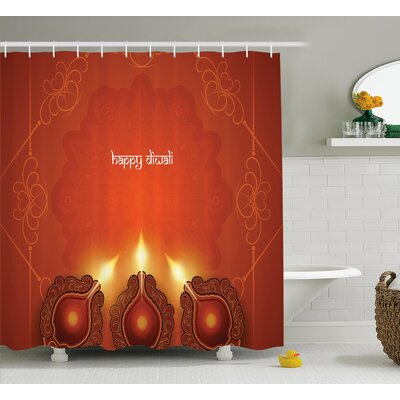 """Shaffer Diwali Paisley Decor Indian Inspired Backdrop With Wooden Oriental Carving Frames Print Shower Curtain Size: 69"""" W x 70"""" H"""