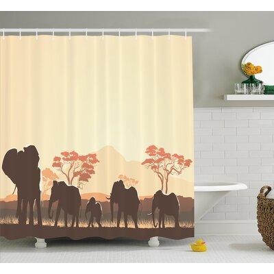 "Atlantis African Wildlife Safari Big Animal Elephants Shower Curtain Size: 69"" W x 84"" H"