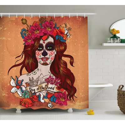 "Kawamura Day of The Dead Dia De Los Muertos Spanish Mexican Festive Skull Art Shower Curtain Size: 69"" W x 70"" H"