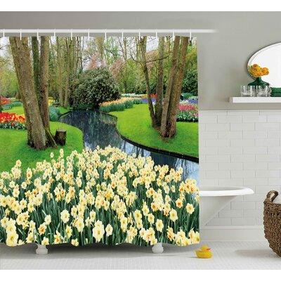 "Morty Spring Flower Garden Shower Curtain Size: 69"" W x 70"" H"